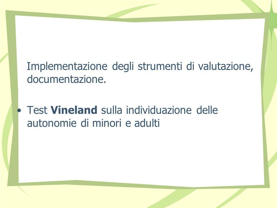 Implementazione degli strumenti di valutazione, documentazione.