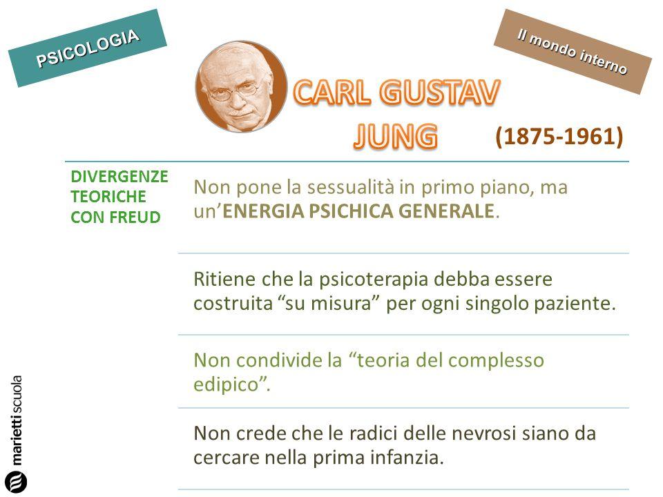 PSICOLOGIA Il mondo interno (1875-1961) DIVERGENZE TEORICHE CON FREUD Non pone la sessualità in primo piano, ma unENERGIA PSICHICA GENERALE. Ritiene c