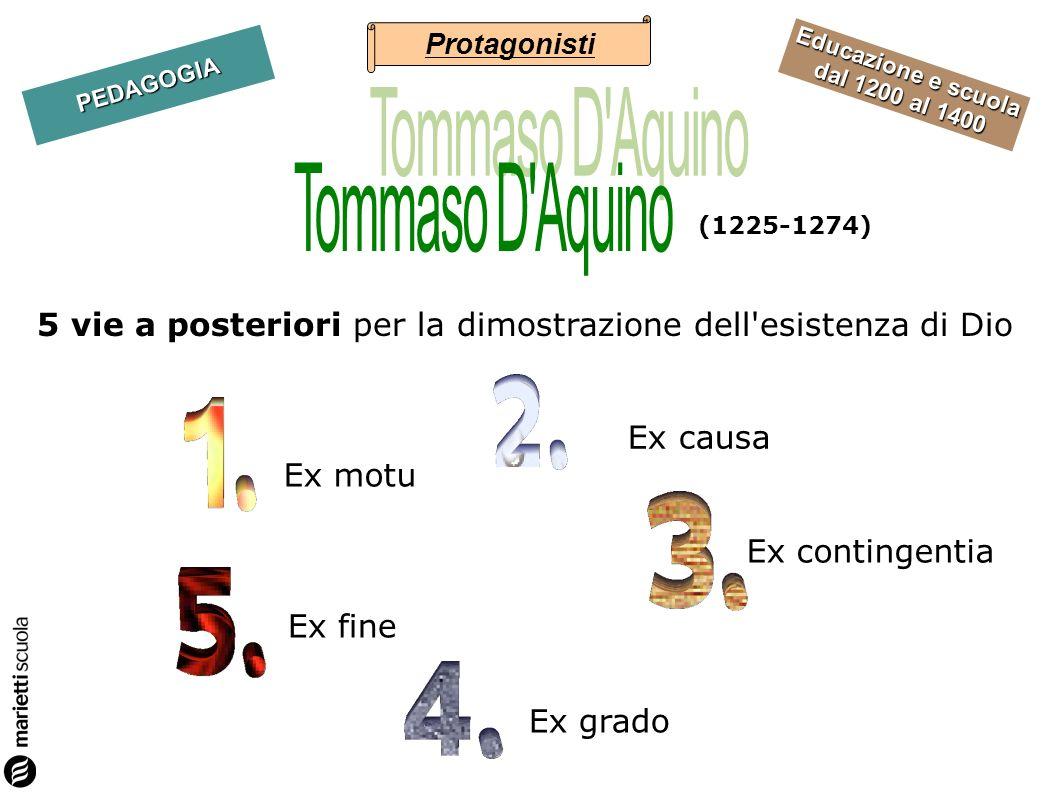Educazione e scuola dal 1200 al 1400 PEDAGOGIA 5 vie a posteriori per la dimostrazione dell'esistenza di Dio Ex motu Ex contingentia Ex grado Ex fine