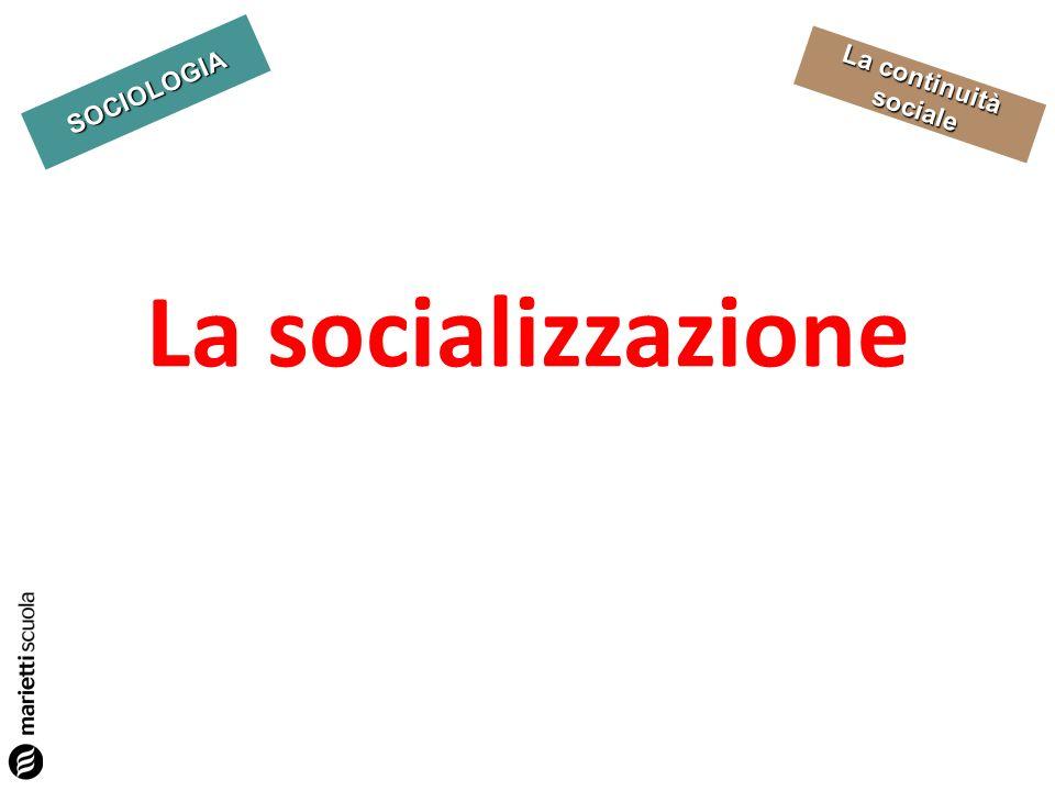 SOCIOLOGIA La continuità sociale Definizione processo attraverso il quale lindividuo acquisisce le conoscenze e le competenze richieste dalla società SOCIALIZZAZIONE