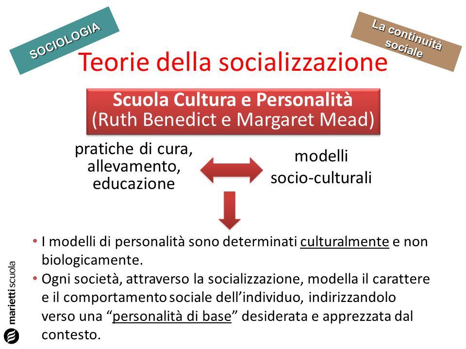 SOCIOLOGIA La continuità sociale Teorie della socializzazione pratiche di cura, allevamento, educazione Scuola Cultura e Personalità (Ruth Benedict e