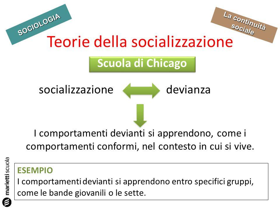 SOCIOLOGIA La continuità sociale Teorie della socializzazione I comportamenti devianti si apprendono, come i comportamenti conformi, nel contesto in c