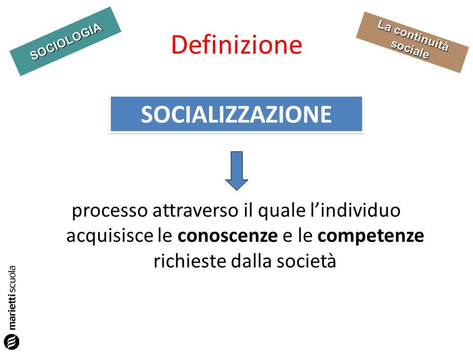 SOCIOLOGIA La continuità sociale Definizione processo attraverso il quale lindividuo acquisisce le conoscenze e le competenze richieste dalla società