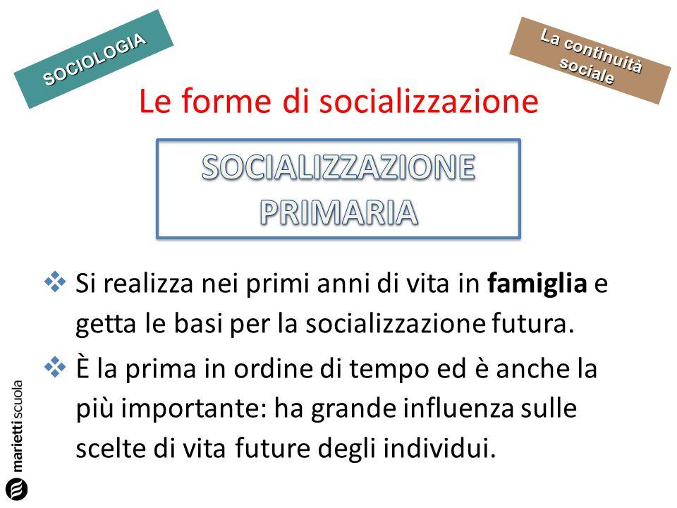 SOCIOLOGIA La continuità sociale Si realizza, dopo la socializzazione primaria, in rapporto ad altre agenzie di socializzazione (la scuola, il gruppo dei pari, i media).