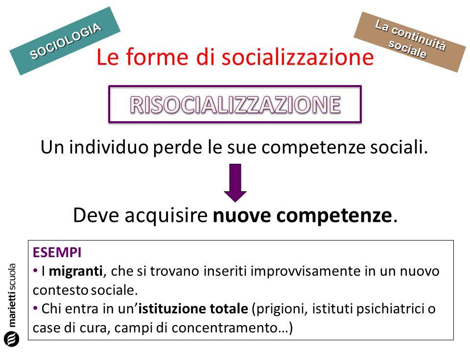 SOCIOLOGIA La continuità sociale Un individuo perde le sue competenze sociali. Le forme di socializzazione Deve acquisire nuove competenze. ESEMPI I m