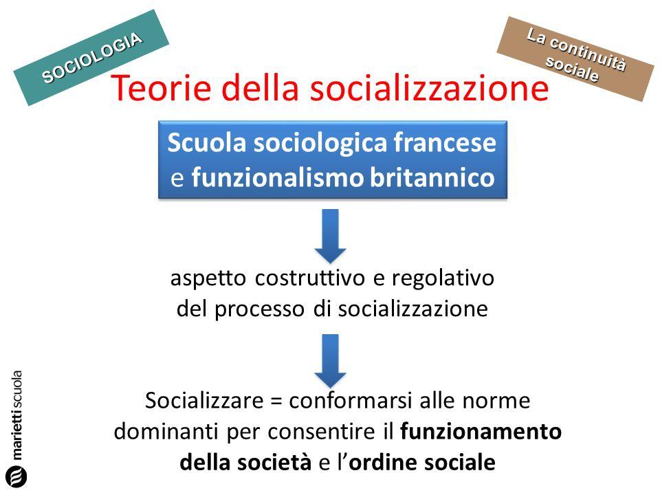 SOCIOLOGIA La continuità sociale Teorie della socializzazione Socializzare = conformarsi alle norme dominanti per consentire il funzionamento della so