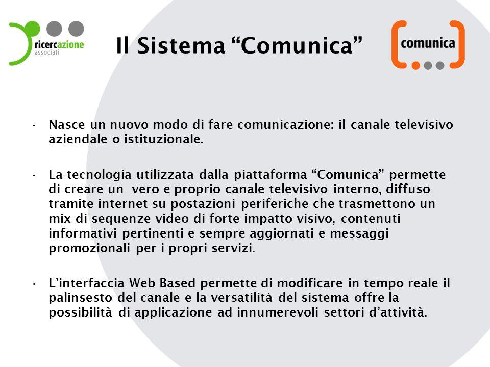 Il Sistema Comunica Nasce un nuovo modo di fare comunicazione: il canale televisivo aziendale o istituzionale. La tecnologia utilizzata dalla piattafo
