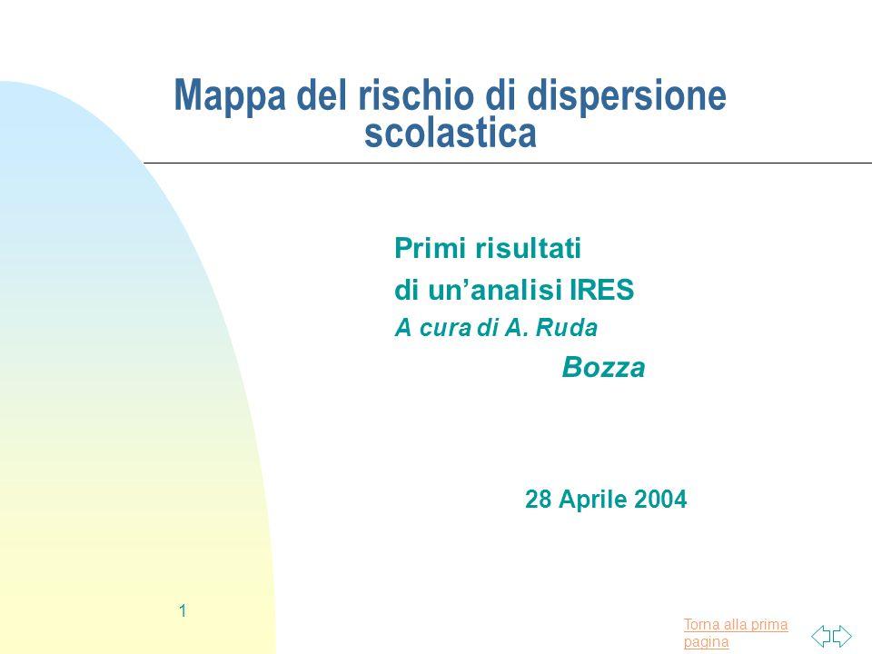 Torna alla prima pagina 1 Mappa del rischio di dispersione scolastica Primi risultati di unanalisi IRES A cura di A. Ruda Bozza 28 Aprile 2004