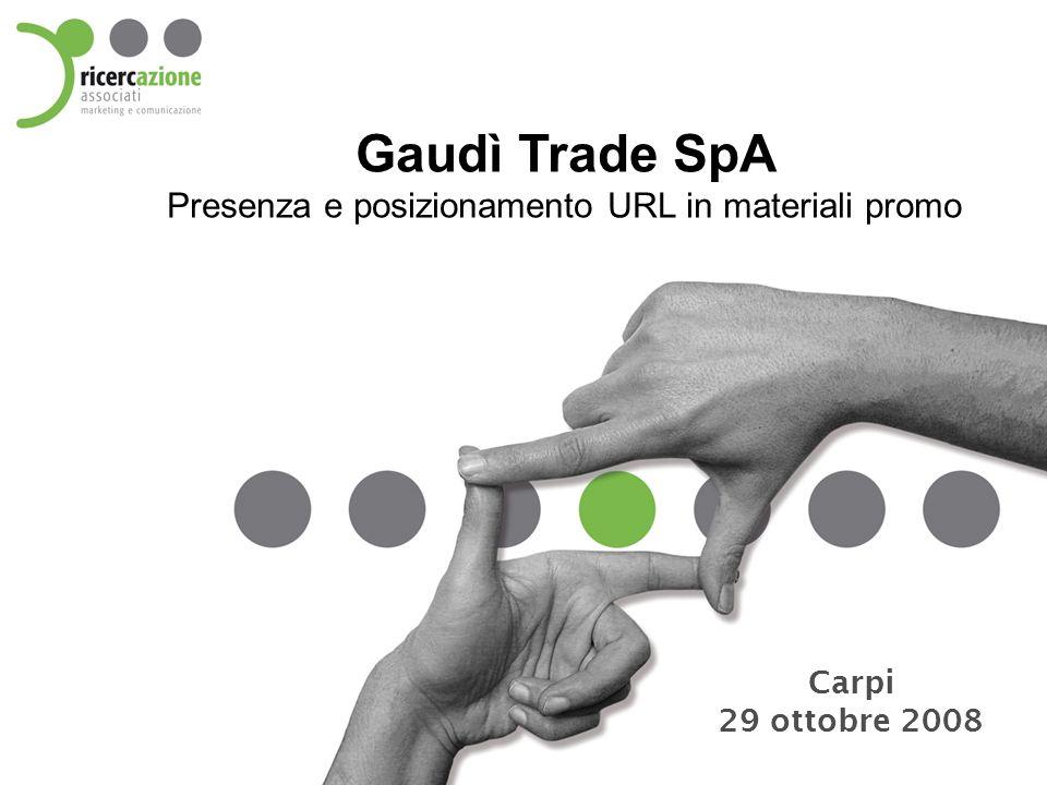 Gaudì Trade SpA Presenza e posizionamento URL in materiali promo Carpi 29 ottobre 2008