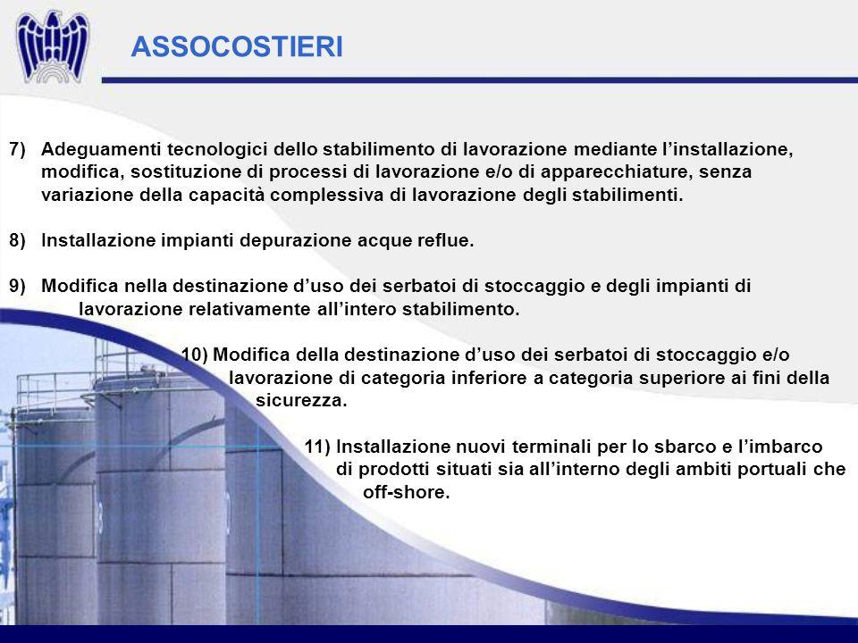 ASSOCOSTIERI 7)Adeguamenti tecnologici dello stabilimento di lavorazione mediante linstallazione, modifica, sostituzione di processi di lavorazione e/