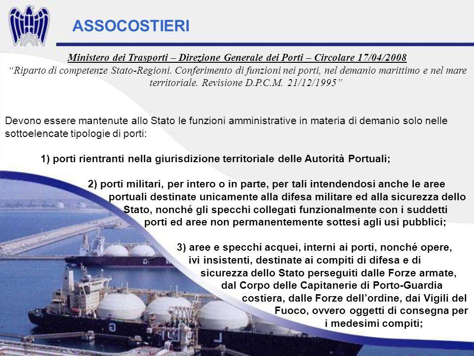Ministero dei Trasporti – Direzione Generale dei Porti – Circolare 17/04/2008 Riparto di competenze Stato-Regioni. Conferimento di funzioni nei porti,