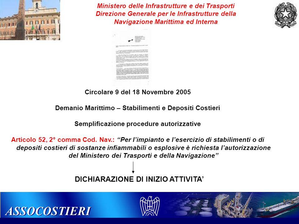 Circolare 9 del 18 Novembre 2005 Demanio Marittimo – Stabilimenti e Depositi Costieri Semplificazione procedure autorizzative Articolo 52, 2° comma Co
