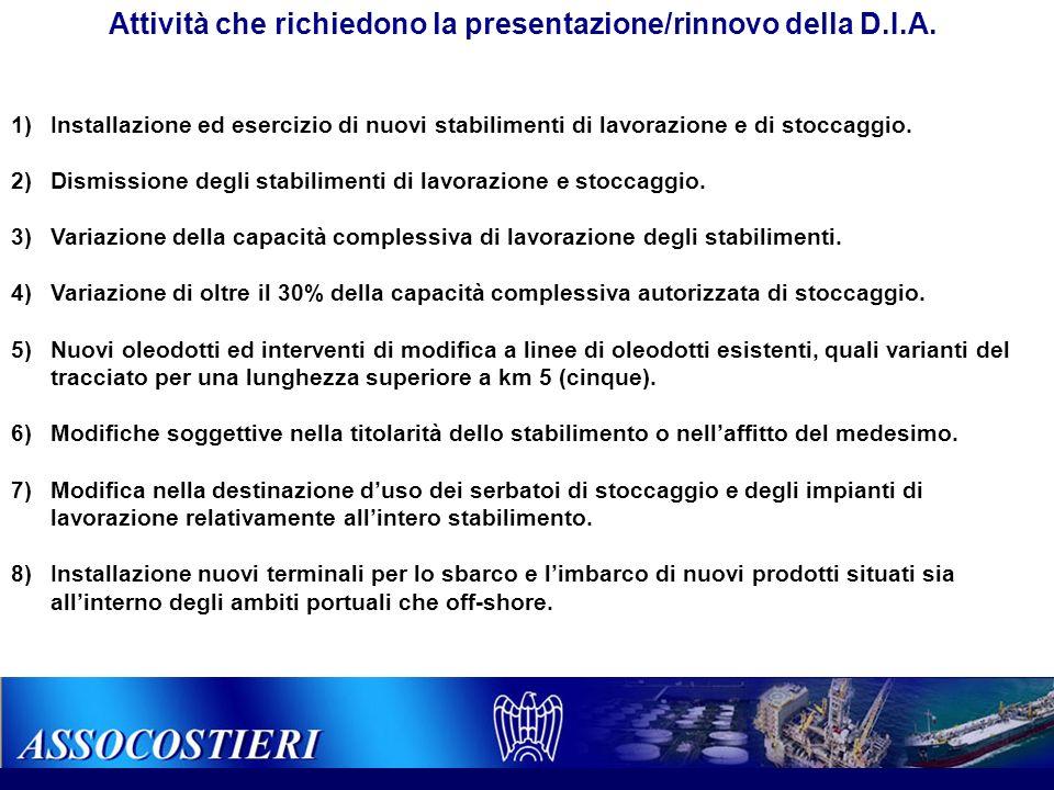 Attività che richiedono la presentazione/rinnovo della D.I.A. 1)Installazione ed esercizio di nuovi stabilimenti di lavorazione e di stoccaggio. 2)Dis