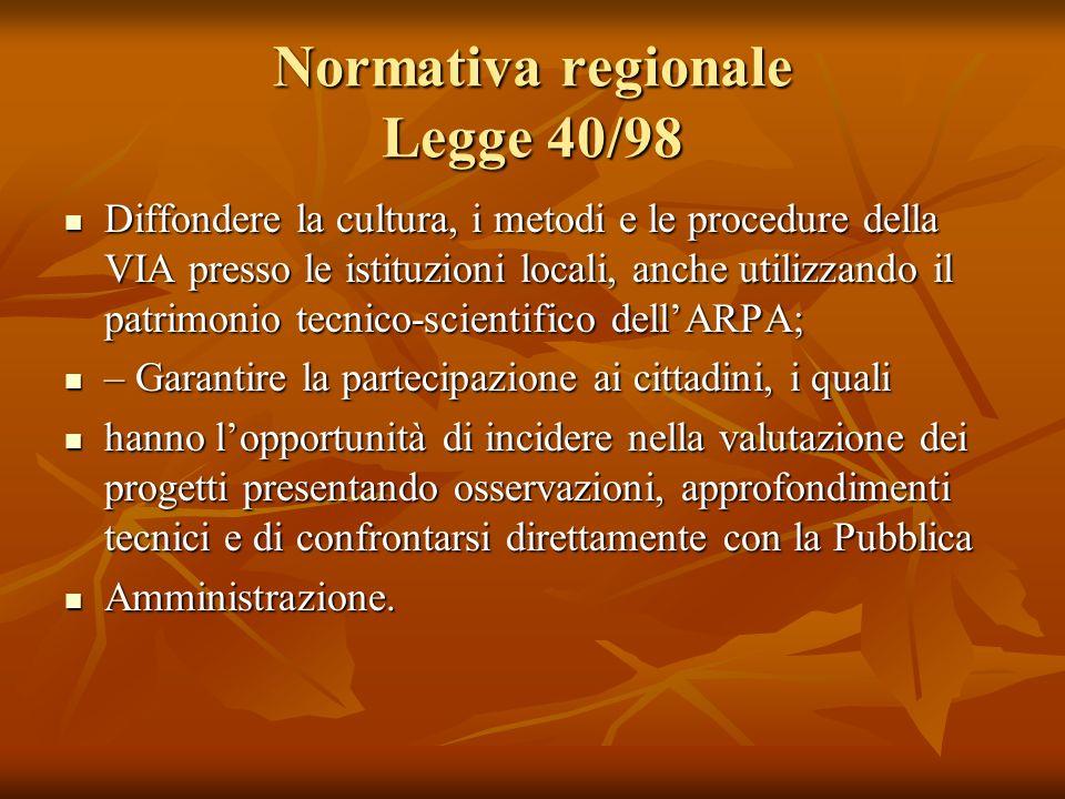 Normativa regionale Legge 40/98 Diffondere la cultura, i metodi e le procedure della VIA presso le istituzioni locali, anche utilizzando il patrimonio