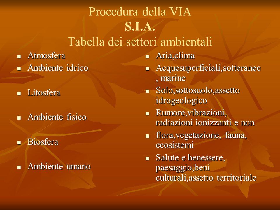 Procedura della VIA S.I.A. Tabella dei settori ambientali Atmosfera Atmosfera Ambiente idrico Ambiente idrico Litosfera Litosfera Ambiente fisico Ambi