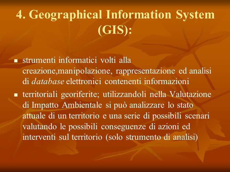 4. Geographical Information System (GIS): strumenti informatici volti alla creazione,manipolazione, rappresentazione ed analisi di database elettronic