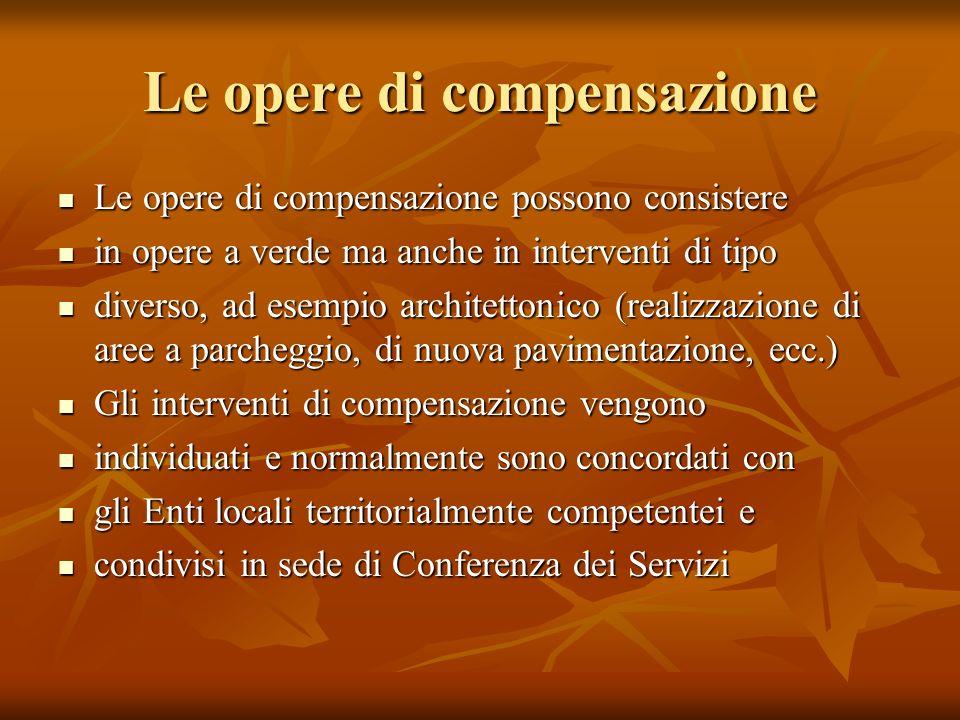 Le opere di compensazione Le opere di compensazione possono consistere Le opere di compensazione possono consistere in opere a verde ma anche in inter