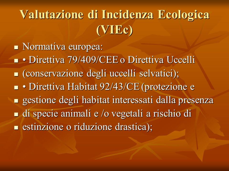 Valutazione di Incidenza Ecologica (VIEc) Normativa europea: Normativa europea: Direttiva 79/409/CEE o Direttiva Uccelli Direttiva 79/409/CEE o Dirett
