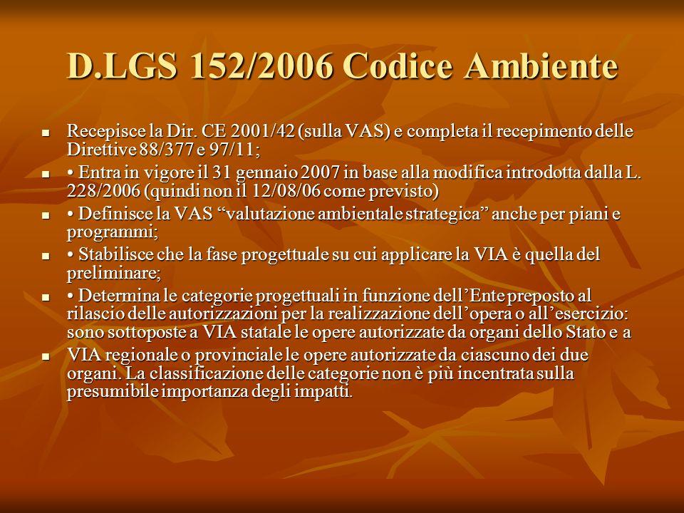D.LGS 152/2006 Codice Ambiente Recepisce la Dir. CE 2001/42 (sulla VAS) e completa il recepimento delle Direttive 88/377 e 97/11; Recepisce la Dir. CE