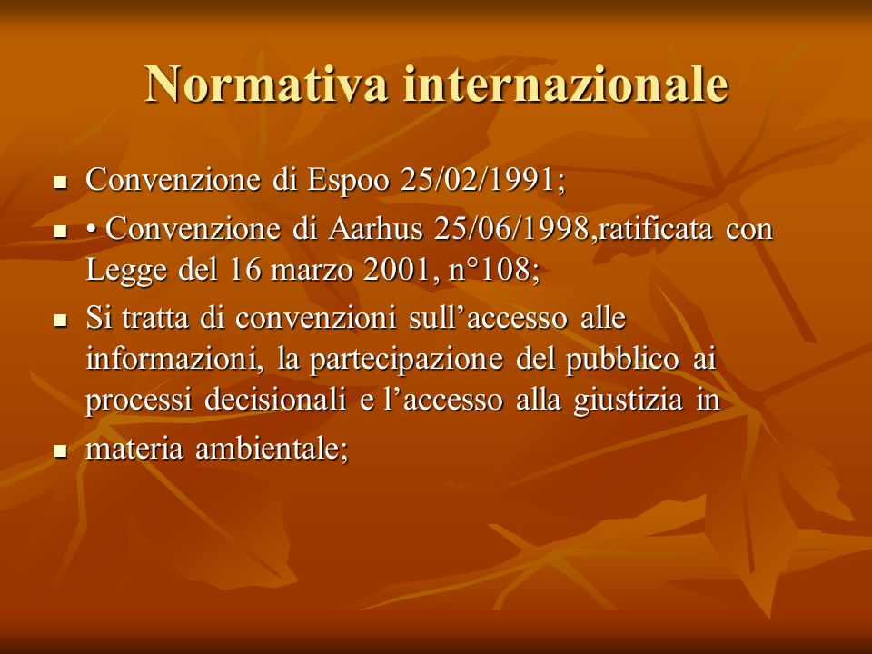 Normativa internazionale Convenzione di Espoo 25/02/1991; Convenzione di Espoo 25/02/1991; Convenzione di Aarhus 25/06/1998,ratificata con Legge del 1