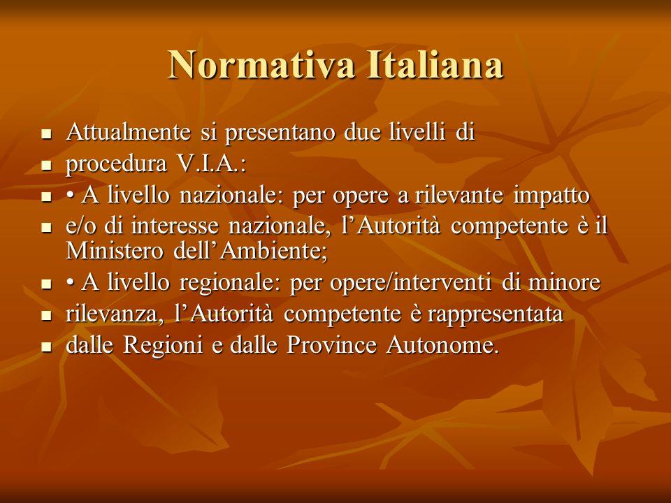 Normativa Italiana Attualmente si presentano due livelli di Attualmente si presentano due livelli di procedura V.I.A.: procedura V.I.A.: A livello naz