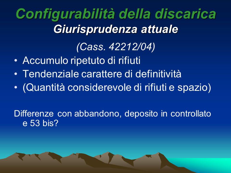 Configurabilità della discarica Giurisprudenza attuale (Cass. 42212/04) Accumulo ripetuto di rifiuti Tendenziale carattere di definitività (Quantità c