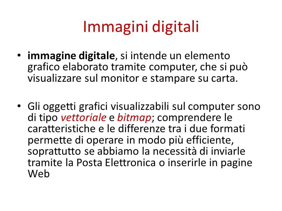 Immagini digitali immagine digitale, si intende un elemento grafico elaborato tramite computer, che si può visualizzare sul monitor e stampare su cart