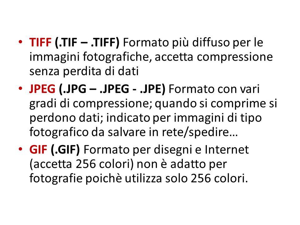 TIFF (.TIF –.TIFF) Formato più diffuso per le immagini fotografiche, accetta compressione senza perdita di dati JPEG (.JPG –.JPEG -.JPE) Formato con v