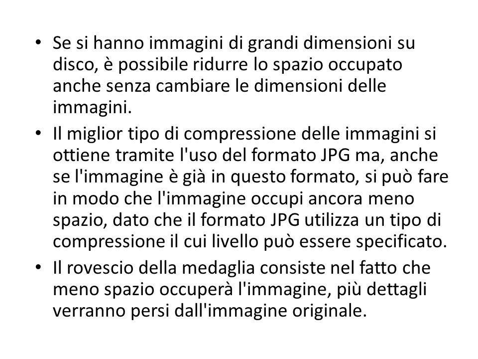 Se si hanno immagini di grandi dimensioni su disco, è possibile ridurre lo spazio occupato anche senza cambiare le dimensioni delle immagini. Il migli