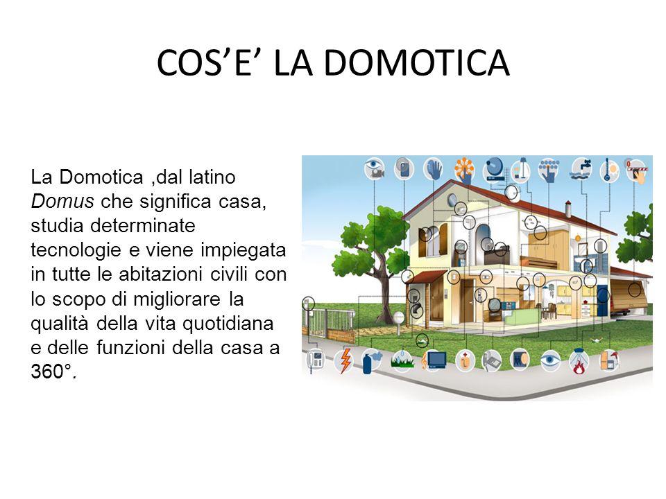 COSE LA DOMOTICA La Domotica,dal latino Domus che significa casa, studia determinate tecnologie e viene impiegata in tutte le abitazioni civili con lo