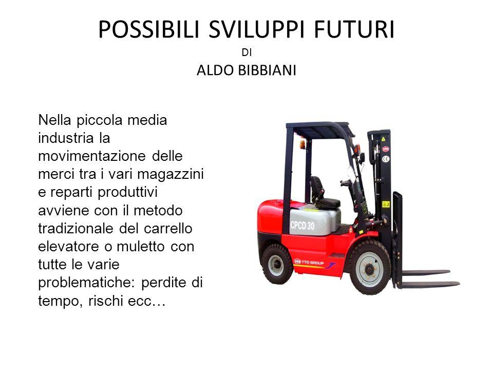 POSSIBILI SVILUPPI FUTURI DI ALDO BIBBIANI Nella piccola media industria la movimentazione delle merci tra i vari magazzini e reparti produttivi avvie
