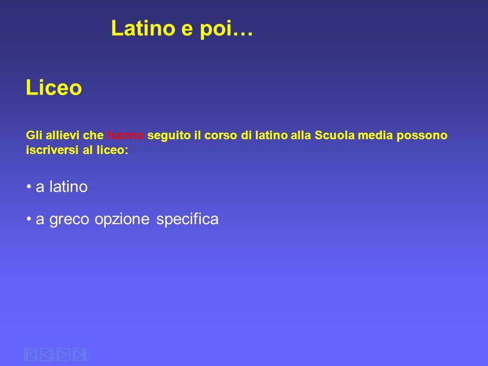 Latino e poi… Liceo Gli allievi che hanno seguito il corso di latino alla Scuola media possono iscriversi al liceo: a latino a greco opzione specifica