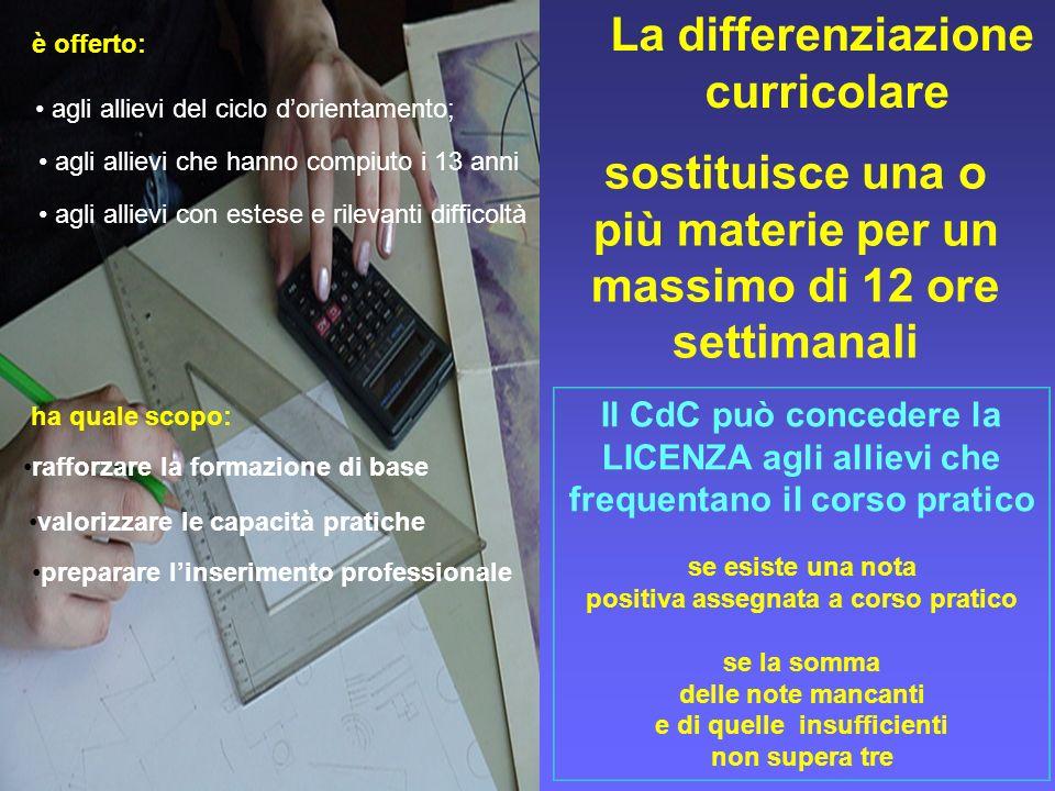 La differenziazione curricolare Il CdC può concedere la LICENZA agli allievi che frequentano il corso pratico se esiste una nota positiva assegnata a