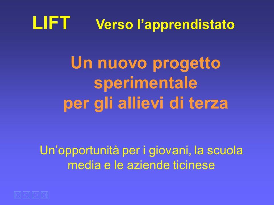 Un nuovo progetto sperimentale per gli allievi di terza LIFT Verso lapprendistato Unopportunità per i giovani, la scuola media e le aziende ticinese