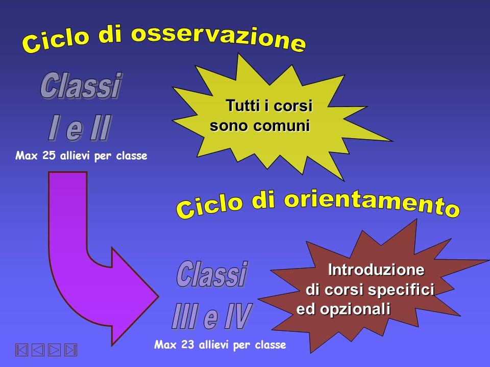 Introduzione Introduzione di corsi specifici di corsi specifici ed opzionali Tutti i corsi Tutti i corsi sono comuni Max 25 allievi per classe Max 23