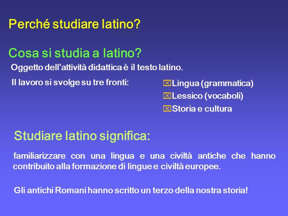 Cosa si studia a latino? Il lavoro si svolge su tre fronti: Oggetto dellattività didattica è il testo latino. Perché studiare latino? Studiare latino