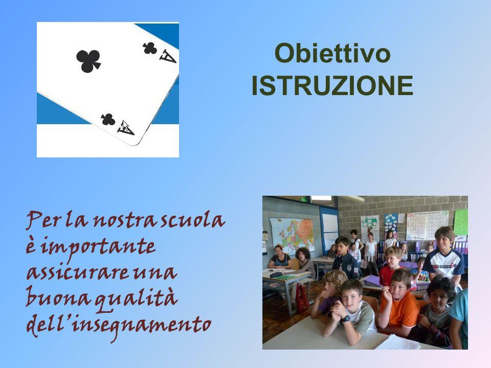 Obiettivo ISTRUZIONE Per la nostra scuola è importante assicurare una buona qualità dellinsegnamento