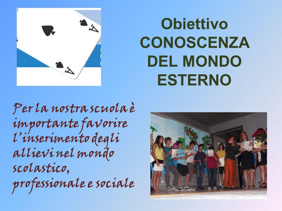 Obiettivo CONOSCENZA DEL MONDO ESTERNO Per la nostra scuola è importante favorire linserimento degli allievi nel mondo scolastico, professionale e sociale