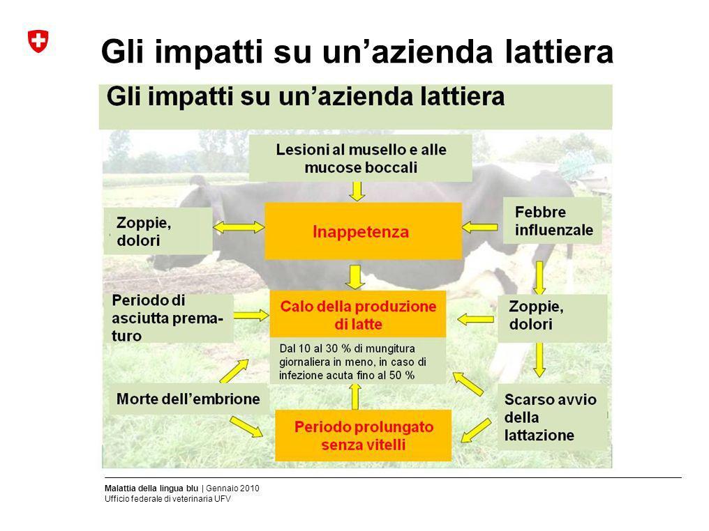 Malattia della lingua blu | Gennaio 2010 Ufficio federale di veterinaria UFV Gli impatti su unazienda lattiera (Fonte: Landwirtschaftskammer, Renania