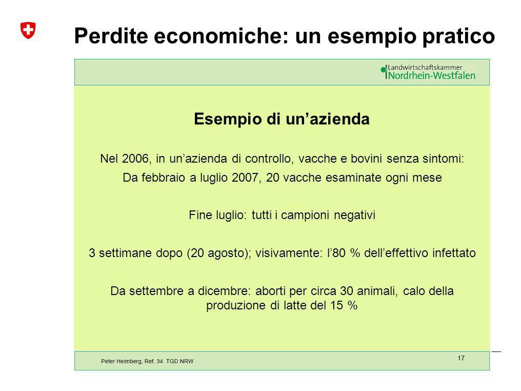 Malattia della lingua blu | Gennaio 2010 Ufficio federale di veterinaria UFV Perdite economiche: un esempio pratico Esempio di unazienda Nel 2006, in