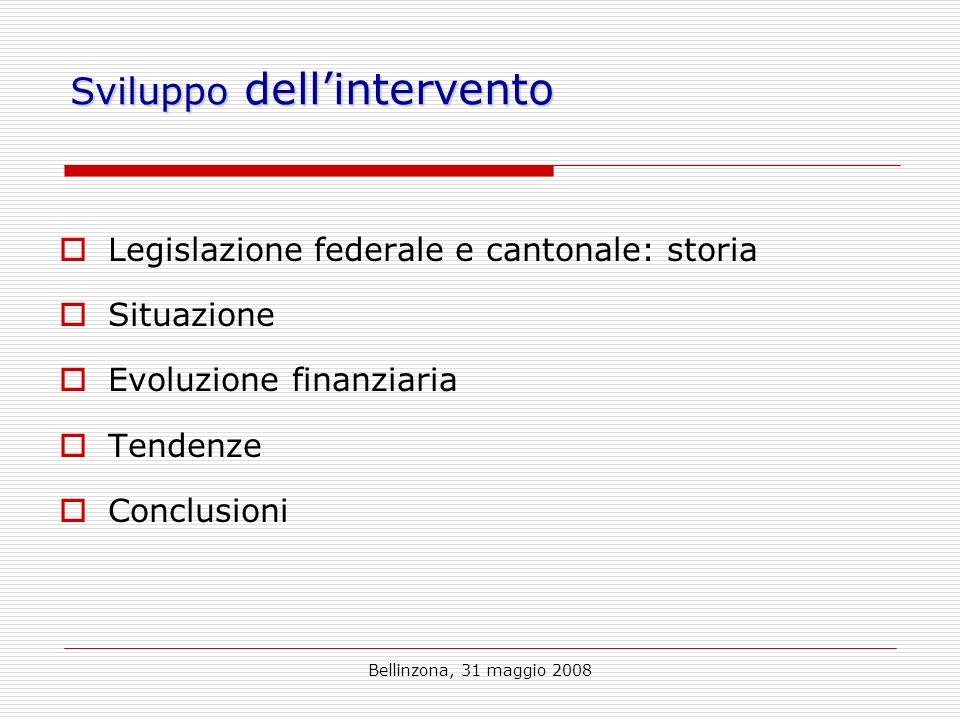 Bellinzona, 31 maggio 2008 Sviluppo dellintervento Legislazione federale e cantonale: storia Situazione Evoluzione finanziaria Tendenze Conclusioni