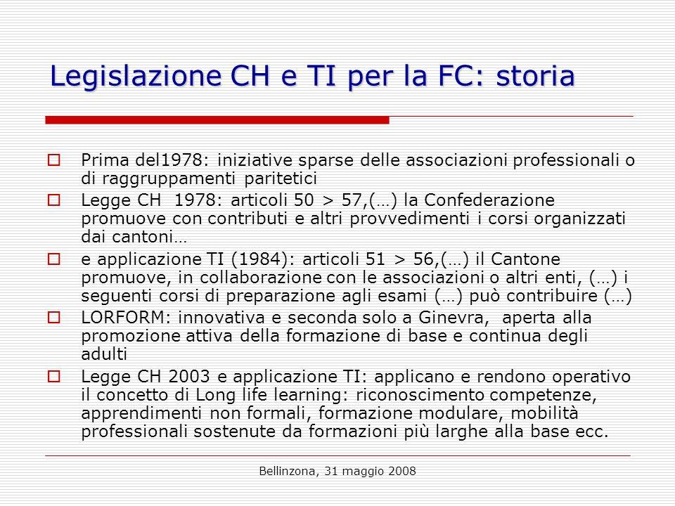 Bellinzona, 31 maggio 2008 Legislazione CH e TI per la FC: storia Prima del1978: iniziative sparse delle associazioni professionali o di raggruppamenti paritetici Legge CH 1978: articoli 50 > 57,(…) la Confederazione promuove con contributi e altri provvedimenti i corsi organizzati dai cantoni… e applicazione TI (1984): articoli 51 > 56,(…) il Cantone promuove, in collaborazione con le associazioni o altri enti, (…) i seguenti corsi di preparazione agli esami (…) può contribuire (…) LORFORM: innovativa e seconda solo a Ginevra, aperta alla promozione attiva della formazione di base e continua degli adulti Legge CH 2003 e applicazione TI: applicano e rendono operativo il concetto di Long life learning: riconoscimento competenze, apprendimenti non formali, formazione modulare, mobilità professionali sostenute da formazioni più larghe alla base ecc.
