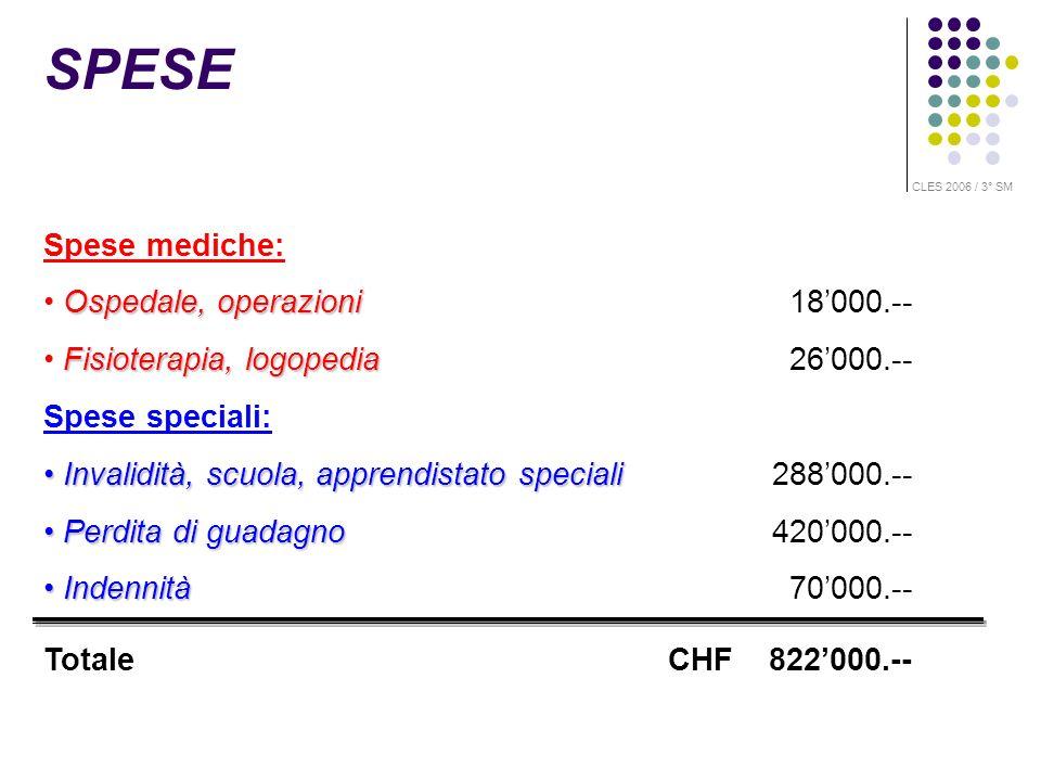 Spese mediche: Ospedale, operazioni Ospedale, operazioni 18000.-- Fisioterapia, logopedia Fisioterapia, logopedia 26000.-- Spese speciali: Invalidità,