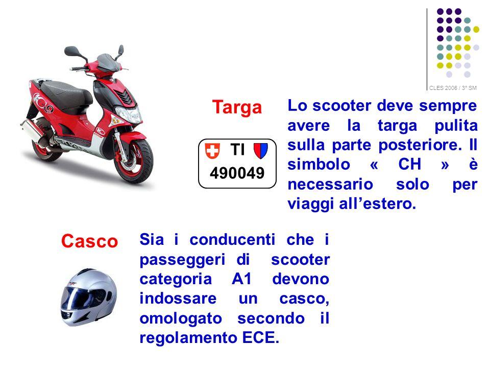 Targa TI 490049 Casco Lo scooter deve sempre avere la targa pulita sulla parte posteriore. Il simbolo « CH » è necessario solo per viaggi allestero. S