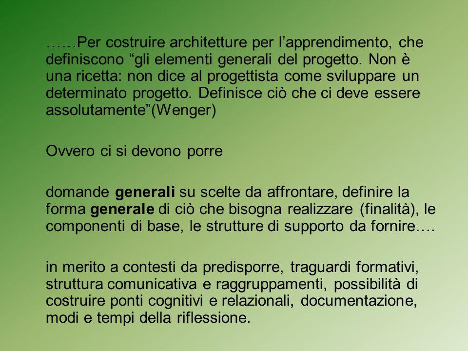 ……Per costruire architetture per lapprendimento, che definiscono gli elementi generali del progetto.