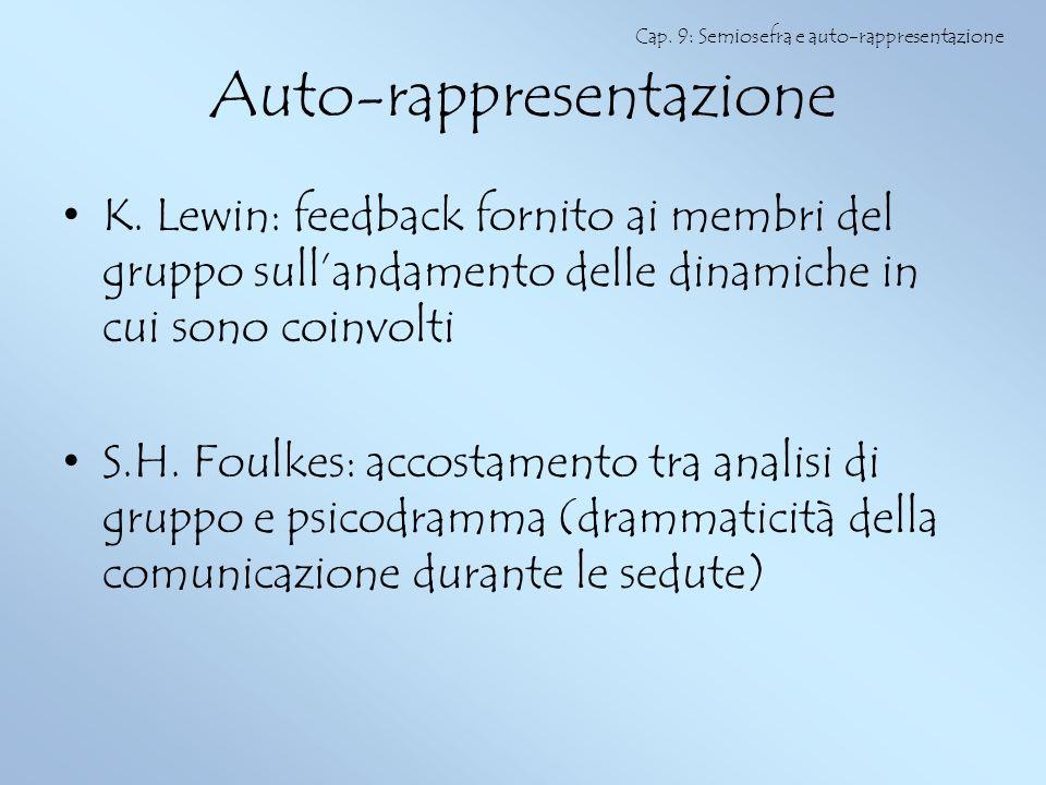 Auto-rappresentazione K. Lewin: feedback fornito ai membri del gruppo sullandamento delle dinamiche in cui sono coinvolti S.H. Foulkes: accostamento t