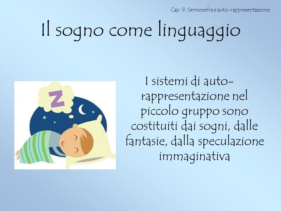 Il sogno come linguaggio I sistemi di auto- rappresentazione nel piccolo gruppo sono costituiti dai sogni, dalle fantasie, dalla speculazione immagina
