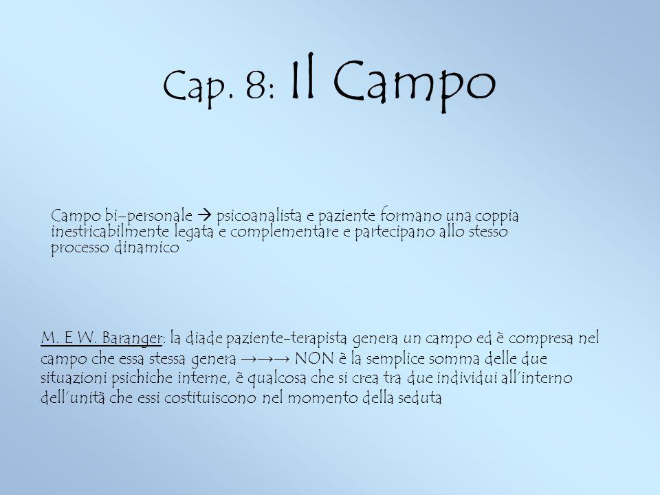 Cap. 8: Il Campo Campo bi–personale psicoanalista e paziente formano una coppia inestricabilmente legata e complementare e partecipano allo stesso pro