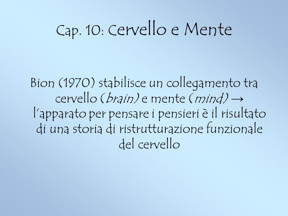 Cap. 10: C ervello e Mente Bion (1970) stabilisce un collegamento tra cervello (brain) e mente (mind) lapparato per pensare i pensieri è il risultato