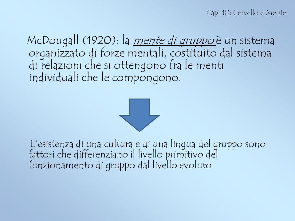 McDougall (1920): la mente di gruppo è un sistema organizzato di forze mentali, costituito dal sistema di relazioni che si ottengono fra le menti indi
